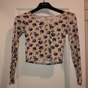 Long sleeve floral crop top size S